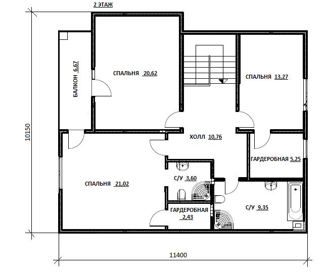 План второго этажа проекта Кардымово