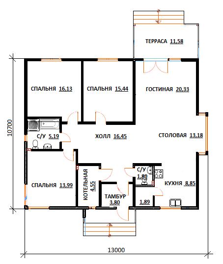 План первого этажа проекта Юлия