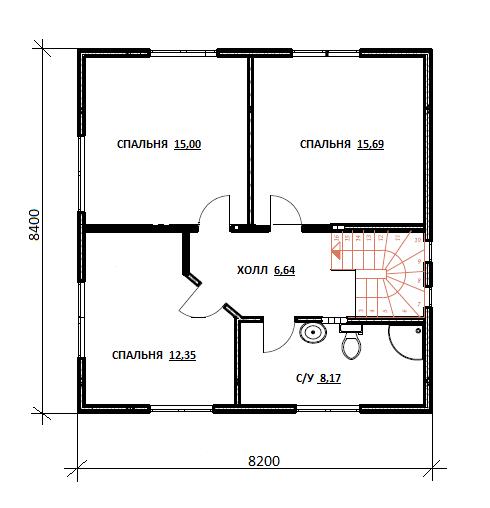 План второго этажа проекта Бабиничи