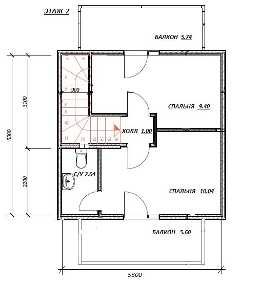 План второго этажа проекта Садовый