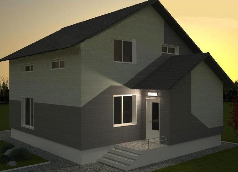 фасад дома из лстк ночные Бабиничи