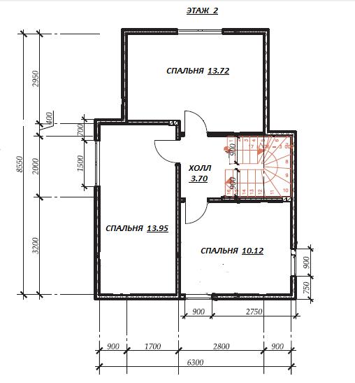 план второго этажа по проекту Горошки