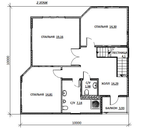 план второго этажа проекта Олдан